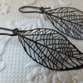 Black Leaf Skeleton on matt black nickel free kidney hooks