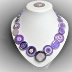 Button necklace - Purple Storm