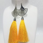 Silver earrings, sterling with long yellow tassels and silver gingko leaves.
