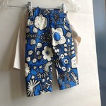 Boys Retro Print Pants in blue white black for baby boy and toddler botanical