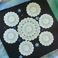 Hand Crocheted Doily and Six Coasters in Aqua Colour