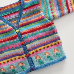 Aqua Mermaid Cardigan - Size 1-2 years  - Hand knitted in pure wool
