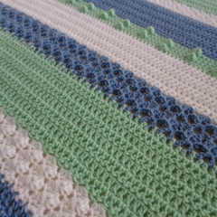 Crochet baby sampler blanket | green, blue, white | baby shower gift, travel rug