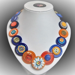Button necklace- Midnight blossom