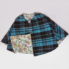 Aqua and black plaid wool blend cloak/poncho. Size 4-5