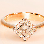 18ct Princess Cut Halo Engagement Dress Ring