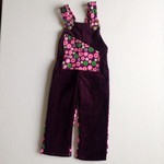 Winter Overalls for girl in size 1 with daisies pink purple white maroon vintage