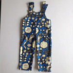 Overalls made from Retro Cotton for Winter or Summer Boys Floral or Girl Blue Wh