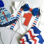 Red White & Blue Birthday Onesie & Party Hat & Legwarmers Boys 1st Birthday