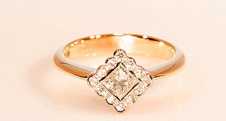 18ct Princess Cut Halo Engagement Dress Ring