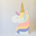 Hand painted Wooden Unicorn Stacker with gold glitter horn . (5 Piece)