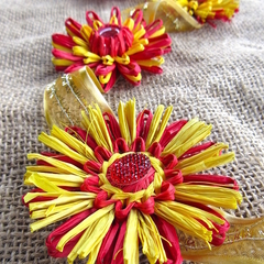Paper Raffia Flower Hanging Garland Red Yellow Retro Decoration Clearance Sale