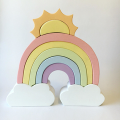 Hand painted Wooden PASTEL Cloud Rainbow with SUN (9 Piece)