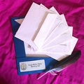 Delicate Pale Rose Pink Hand Made Paper Writing Set in Blue Folio