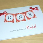Girls 1st Birthday card - red bunting - ONE