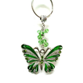 Silver and Green Rhinestone Butterfly Keyring, Car Accessory