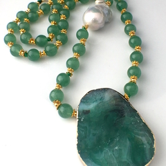 Green AGATE Genuine Gemstone Pendant, KEISH PEARL Necklace.