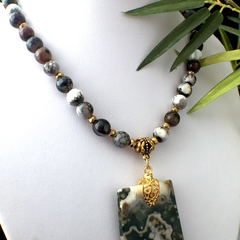 Genuine RHYOLITE Pendant and Dragon Veins AGATE Necklace.