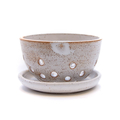 Rustic handmade ceramic berry Bowl with matching saucer - dishwasher safe