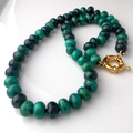 Genuine Blue Cyan Natural PERUVIAN CHRYSOCOLLA Abacus Stones Necklace.