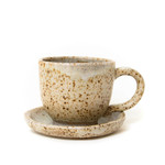 Speckled silver coffee or tea cup and saucer set handmade