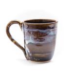Coffee mug - Shimmery opal blue on amber tenmoku