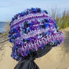 Slouch beanie - purples mohair & wool