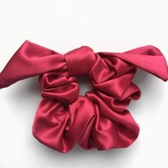 Satin bow scrunchie - pink