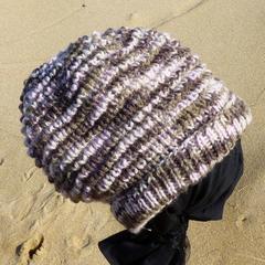 Bulky adult unisex beanie, wool & acrylic, slouchy, textured