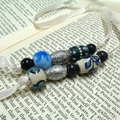 Beaded Bookmark with Ribbon, Blue Bookmark