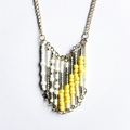 Yellow, White and Silver Beaded Necklace