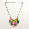 Pink, Green, Yellow and Gold Boho Festival Beaded Necklace