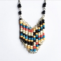 Black, White, Yellow, Blue and Red Beaded Necklace