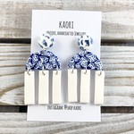 Handcrafted polymer clay stud dangle earrings in blue and white shibori
