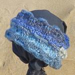 Cowl collar, neck warmer, ear snug in soft wool.  Blues