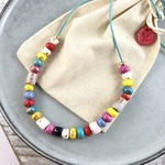Handcrafted polymer clay adjustable necklace in Colourful brights