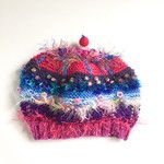 Unique colourful embellished knit hat/beret/beanie. 3-6 years.  Bright colours.