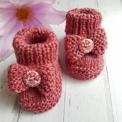 Made to Order - Bow Button  Booties - Hand Knitted - Wool