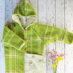 Size 3 upcycled wool coat - green with vintage look floral lining
