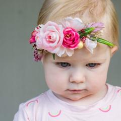 Pink Flower Headband    Flower Crown