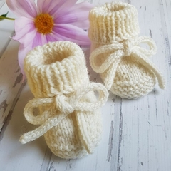 Made to Order - Tie  Booties - Hand Knitted - Wool