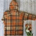 Size 3 upcycled wool coat with retro look floral - orange, purple, chocolate