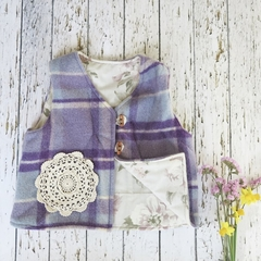 Size 5 - 6 upcycled purple wool vest with floral lining