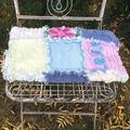 OOAK Vintage Chenille Patchwork Rag Quilt