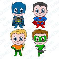 Batman Superman Aquaman Green Lantern Superhero Digital Clip Art Justice League