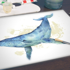 Watercolour Whale Instant Download Printable Art | A3, A4 & A5