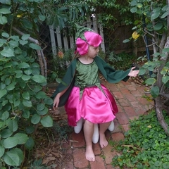 Rose Petal Fairy Dress with wings and hat