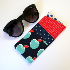 Red Navy Blue Patchwork Glasses Case - Apples, polka dots