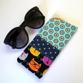 Cute Cats Patchwork Glasses Case - Flowers, polka dots