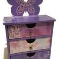Butterfly Storage  Organiser Keepsake Trinket Treasure Jewellery Wooden Drawers